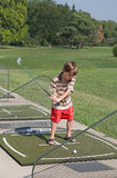 Little Boy Learning to Golf Royalty Free Stock Image