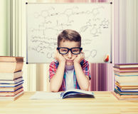 Little boy learns homework in the school library Royalty Free Stock Photography