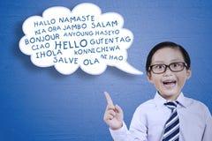 Little boy learns multilingual Stock Photo