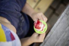 Little boy lick handmade ice cream Stock Images