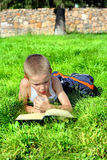 Little Boy liest Buch Stockbilder