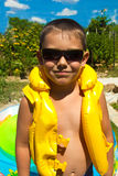 Little boy in a lifejacket Stock Photography
