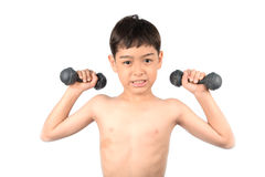 Little boy lifting dumbbell isolate on white background stock photography
