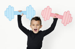 Little Boy Lifting Paper Crafted Dumb Bells. Concept Royalty Free Stock Photo
