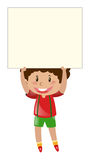 Little boy lifting up blank paper. Illustration Stock Photography