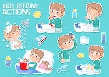 Little boy with light brown hair and daily routine action - tooth brushing, combing hair, washing face, washing hands, showering Stock Photo