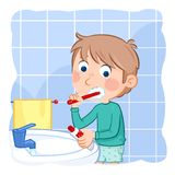 Little boy with light brown hair - tooth brushing - daily routine Stock Photos