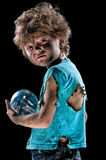Little boy with light bulb Royalty Free Stock Photo