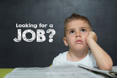 Little boy like a Businessman with text LOOKING FOR A JOB Royalty Free Stock Photos