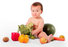 Little boy like fruits royalty free stock images