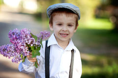 Little boy with lilac Stock Photography