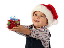 Little boy with little Christmas gift box Royalty Free Stock Photos