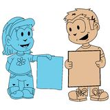 Little boy and little girl holding banners Royalty Free Stock Images