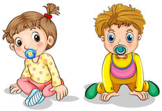 A little boy and a little girl Royalty Free Stock Image