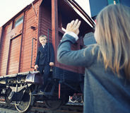 Little boy and little girl in the retro train Royalty Free Stock Photos
