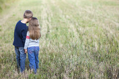 Little boy and little girl standing holding hands looking on hor Stock Photography