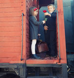 Little boy and little girl on the train Royalty Free Stock Photos