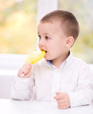Little boy with lollipop Stock Photography