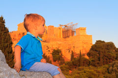 Little boy looking at Athens Royalty Free Stock Photography