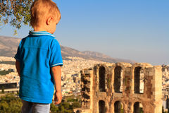 Little boy looking at Athens Royalty Free Stock Image