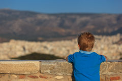 Little boy looking at Athens Royalty Free Stock Photos