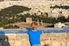 Little boy looking at Athens Royalty Free Stock Photo