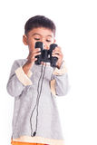 Little boy looking through binocular Royalty Free Stock Photo