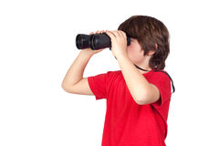 Little boy looking through binoculars Royalty Free Stock Image