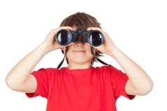 Little boy looking through binoculars Royalty Free Stock Photo