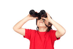 Little boy looking through binoculars. Isolated on white background Stock Images