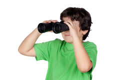Little boy looking through binoculars Stock Photography