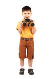 Little boy looking through binoculars Stock Image