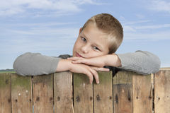 Little boy looking from bove a fence Royalty Free Stock Photo