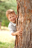 Little boy looking out from behind tree. Royalty Free Stock Photography