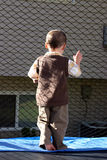 Little Boy Looking Out the Trampoline. Little Boy Looking Out through the Net Royalty Free Stock Photo