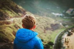 Little boy looking at scenic view while travel. Family travel royalty free stock image