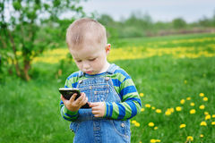 Little boy looking at a smartphone on a meadow Stock Image