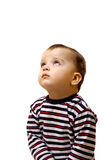 Little boy looking up. Boy looking at the top on the white background Royalty Free Stock Photo