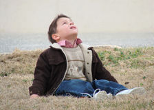 Little boy looking up. Little boy sitting on the grass and looking up to the heaven Stock Photography