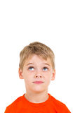 Little boy looking up Stock Photos