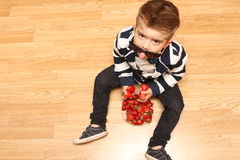 Little boy looking up Stock Image