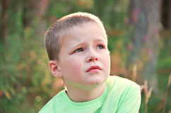 Little Boy looking worried Royalty Free Stock Photo