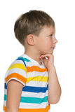 Little boy looks aside Stock Images
