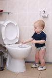 Little boy looks in the toilet Stock Images