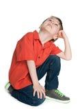 Little boy looks up Stock Photo
