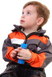Little boy looks up. Surprise Stock Images