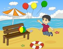 Little boy lost balloons at the beach cartoon Stock Photo