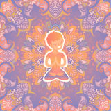 Little boy in the lotus position on the mat for yoga. Vector pastel color illustration on the mandala background. Stock Image