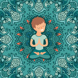 Little boy in the lotus position Stock Photography