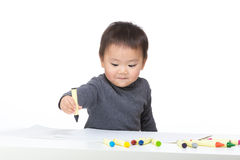 Little boy love drawing Stock Image